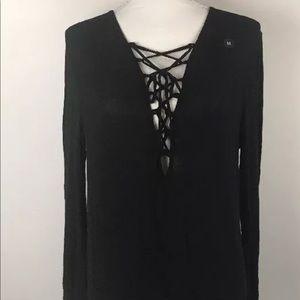 LA Hearts black lace up bodysuit pacsun